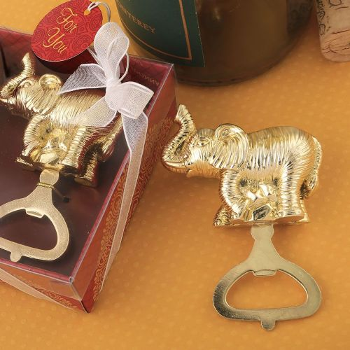 A Lucky Gold Elephant Bottle Opener Favour Gift